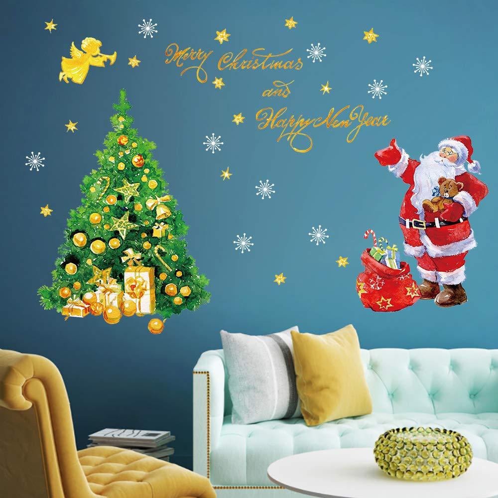 decalmile Adesivo Murale Natale Babbo Natale e Albero di Natale Vetrofanie Adesivi da Parete Finestra Vetrina Festa Decorazione Natalizia (Merry Christmas) Yanfeng