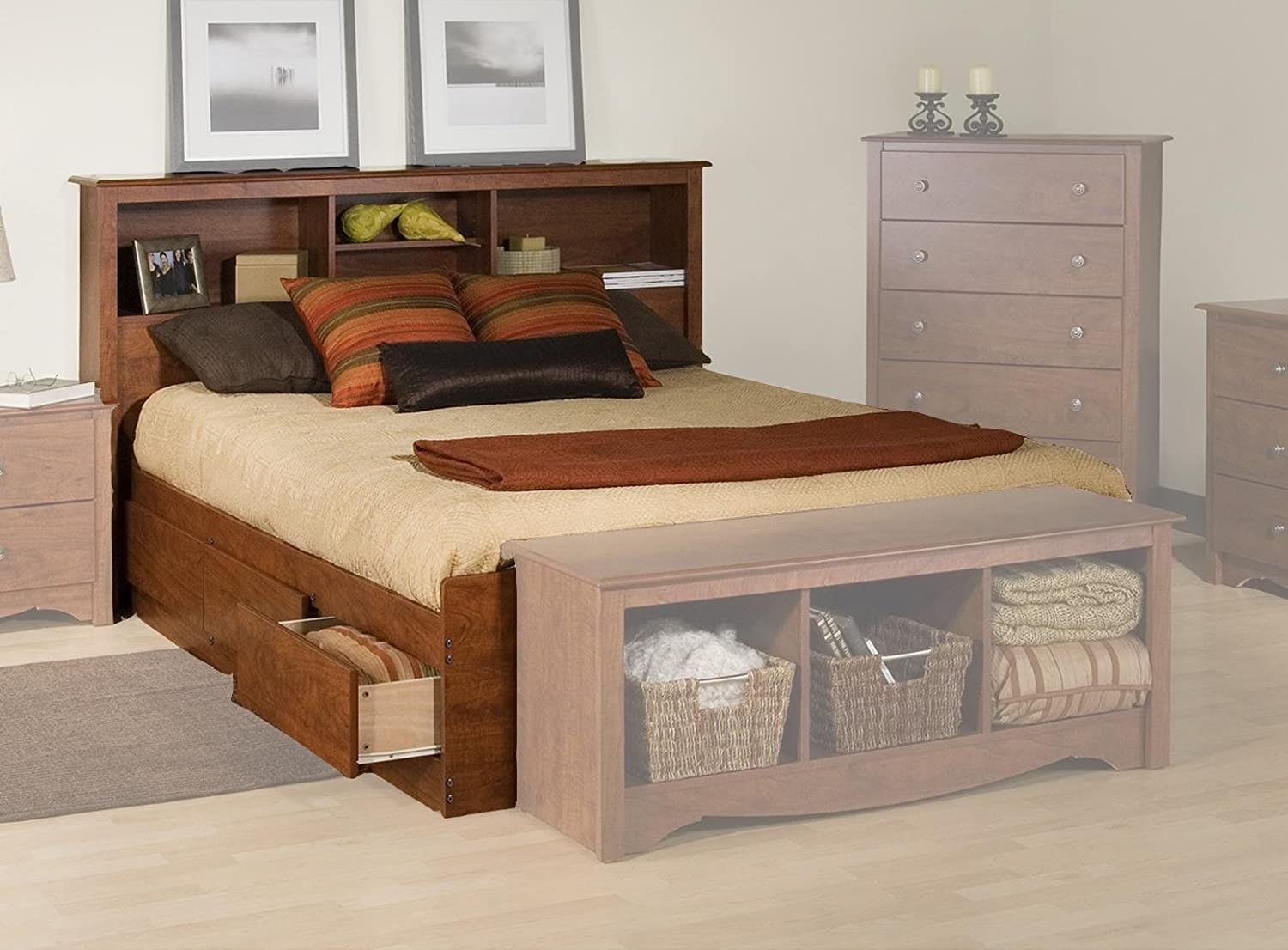 Amazon.com   Prepac Monterey Cherry Queen Bookcase Platform Storage Bed