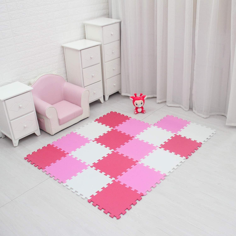 meiqicool Tapis Enfant Puzzle Tapis Mousse b/éb/é 18 pi/èces 18 Dalles 30x30 cm Enfant Bas /âge Blanc Rose 0103