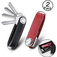 2 pezzi Organizzatore di Chiavi|Portachiavi in Vera Pelle|Pocket Smart Key Holder con Confezione Regalo EleganteExtended | Organizzatore e portachiavi compatto - Nero/Red