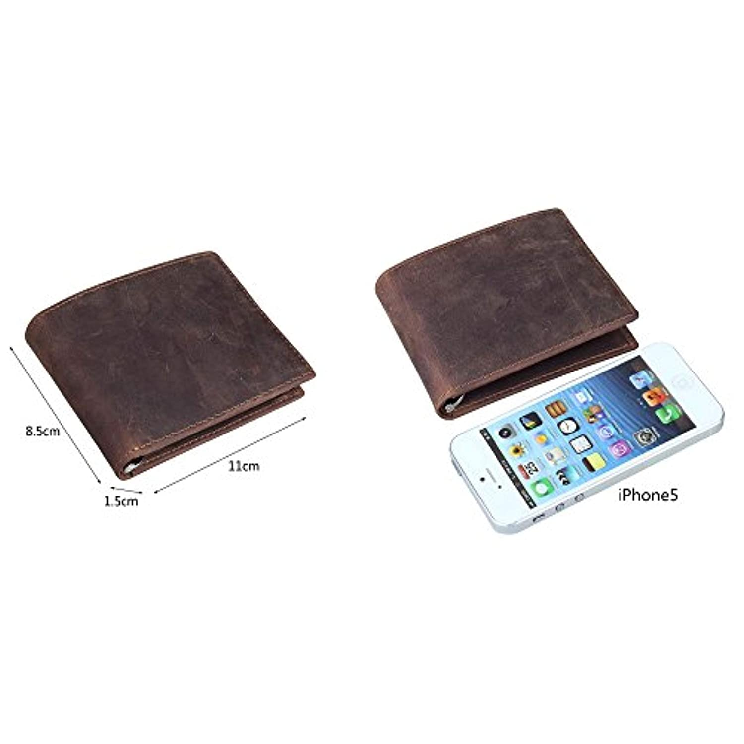BAIGIO Men Wallet Genuine Leather Vintage Brown Casual Bifold Slim Blocking Flip Up ID Window Card Holder
