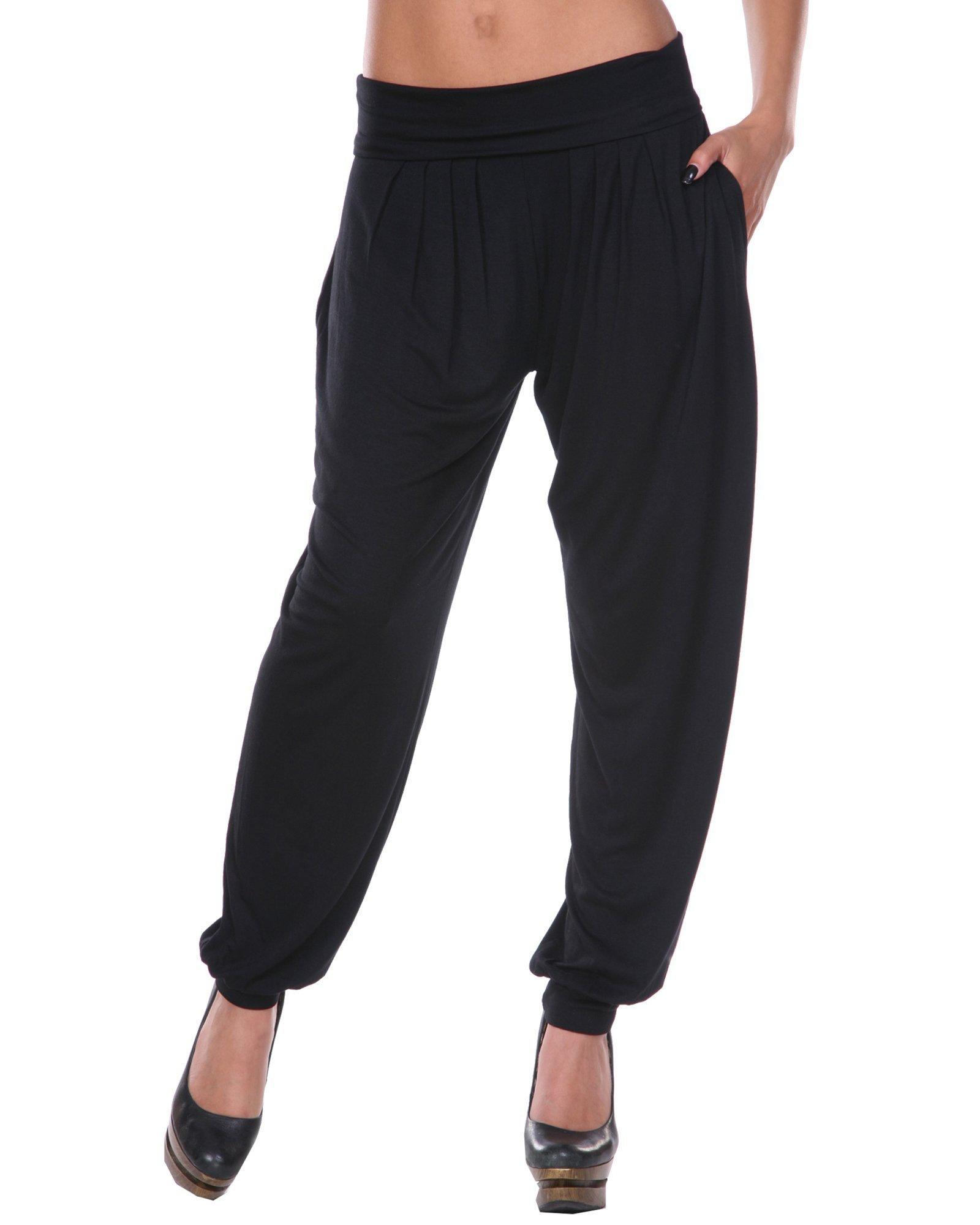 White Mark Women's Bohemian Harem Pants in Black - Large