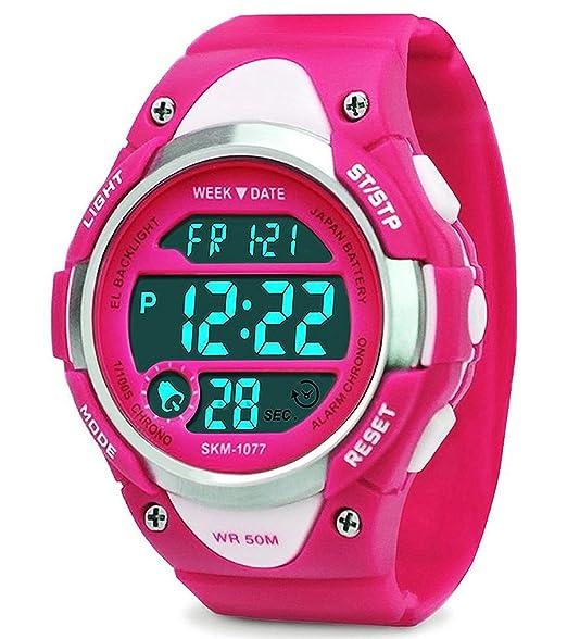 Relojes digitales para niñas regalos - Niños deportes al aire libre reloj con LED, 5 ATM Deportes infantiles impermeables relojes electrónicos con ...