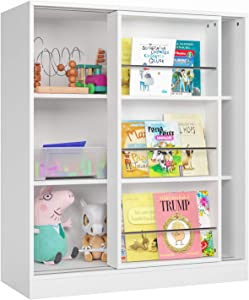 Homfa Kids Bookcase 3 Tier, Toy Organizer Cabinet with Sliding Book Shelf, Free Standing Display Storage Shelves Kid's Room Furniture, White