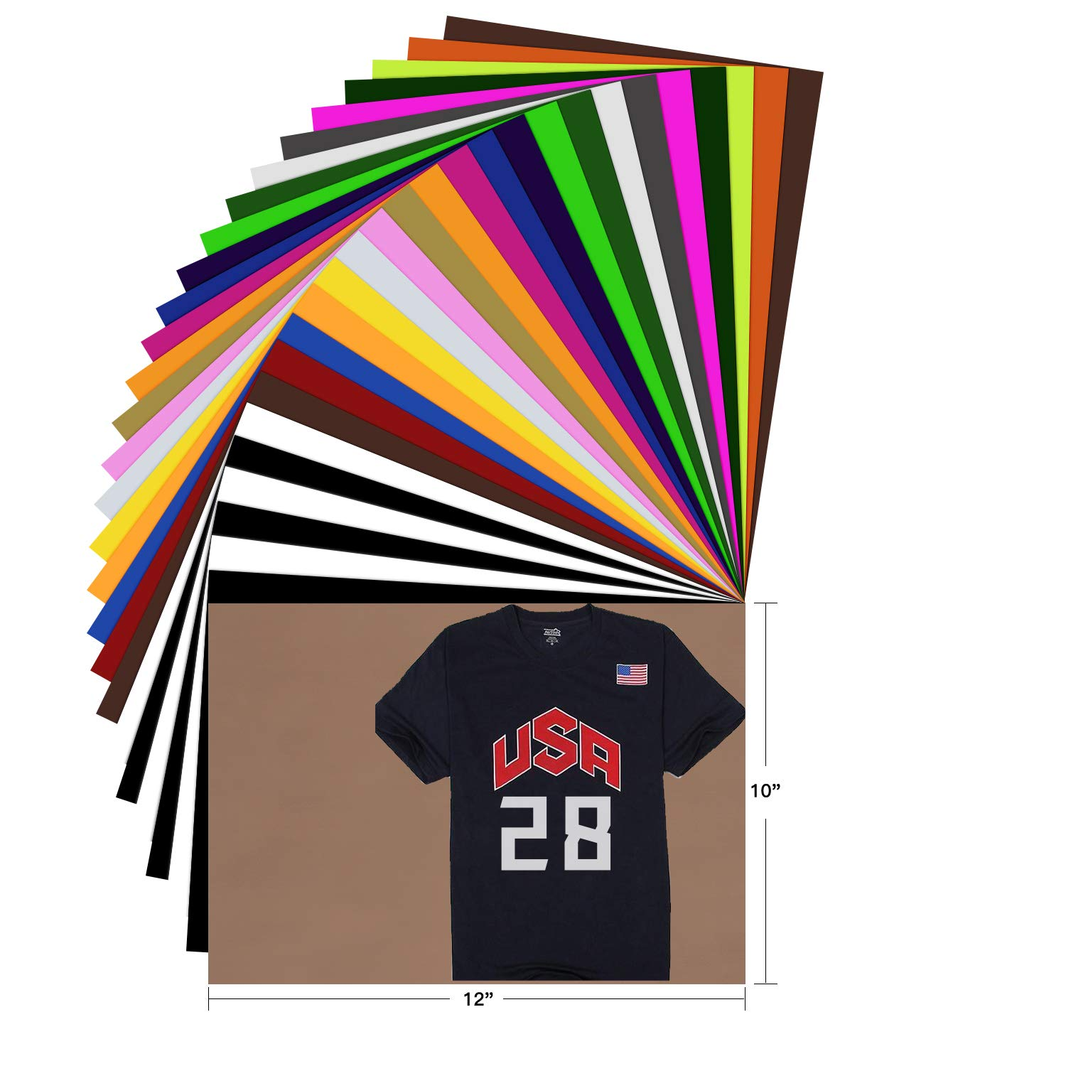 HTV Heat Transfer Vinyl Bundle - 28 Pack 12''x10'' Assorted Color Sheets for Cricut Silhouette Cameo or Other Heat Press Machine - Iron On Vinyl for DIY T-Shirts Clothing Garment Easy to Weed by YRYM HT by YRYM HT
