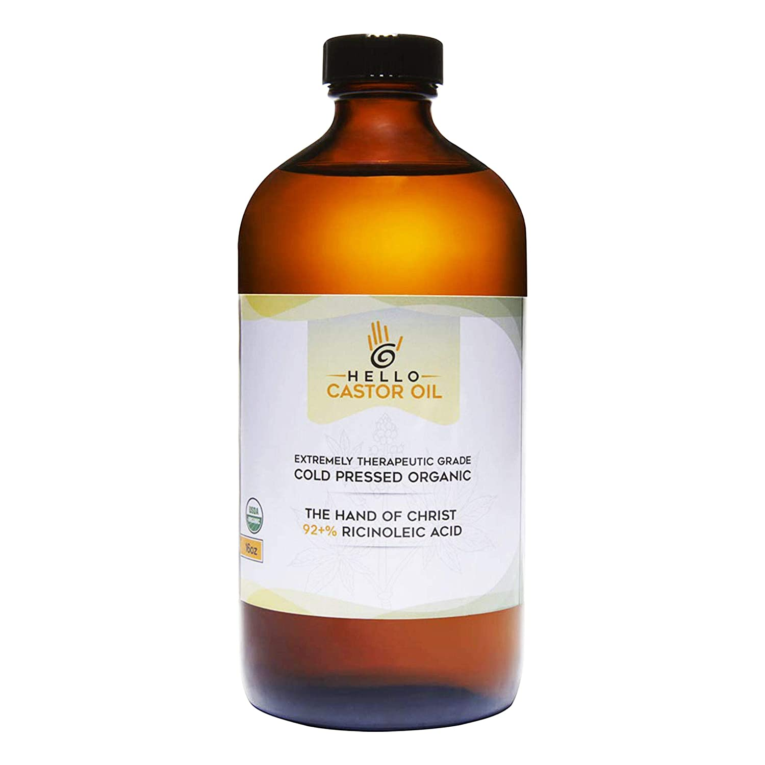 Hello Castor Oil USDA Certified Organic Glass Bottle Pure Cold-Pressed 100% Natural Virgin Castor Oil Moisturizing for Skin Hair Growth Product for Eyelashes Food Grade Hexane & BPA Free (16 ounces)