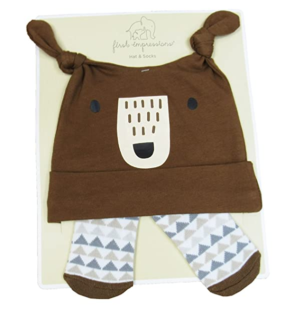 Amazon.com  First Impressions Baby Boys  Bear Hat   Socks Set Brown ... 46f043d7167