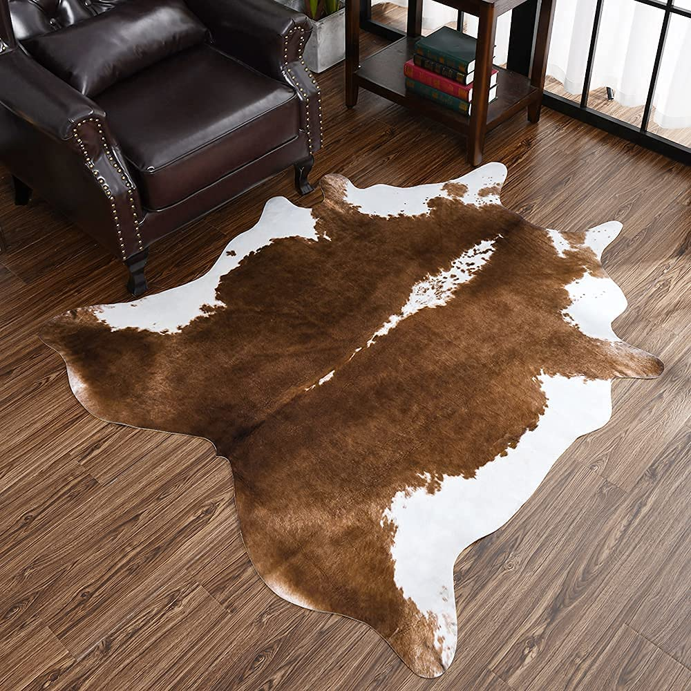 Homore Cowhide Rug, Cute Cow Print Rugs for Bedroom Living Room Faux Cow Hide Carpets, Fur Animal Print Carpet for Home Western Decor Office Table, 4.6 x 5.2 Feet, Khaki