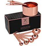Steelware Central Copper Measuring Cups and Spoons Stainless Steel 9 pieces with 2 Rings
