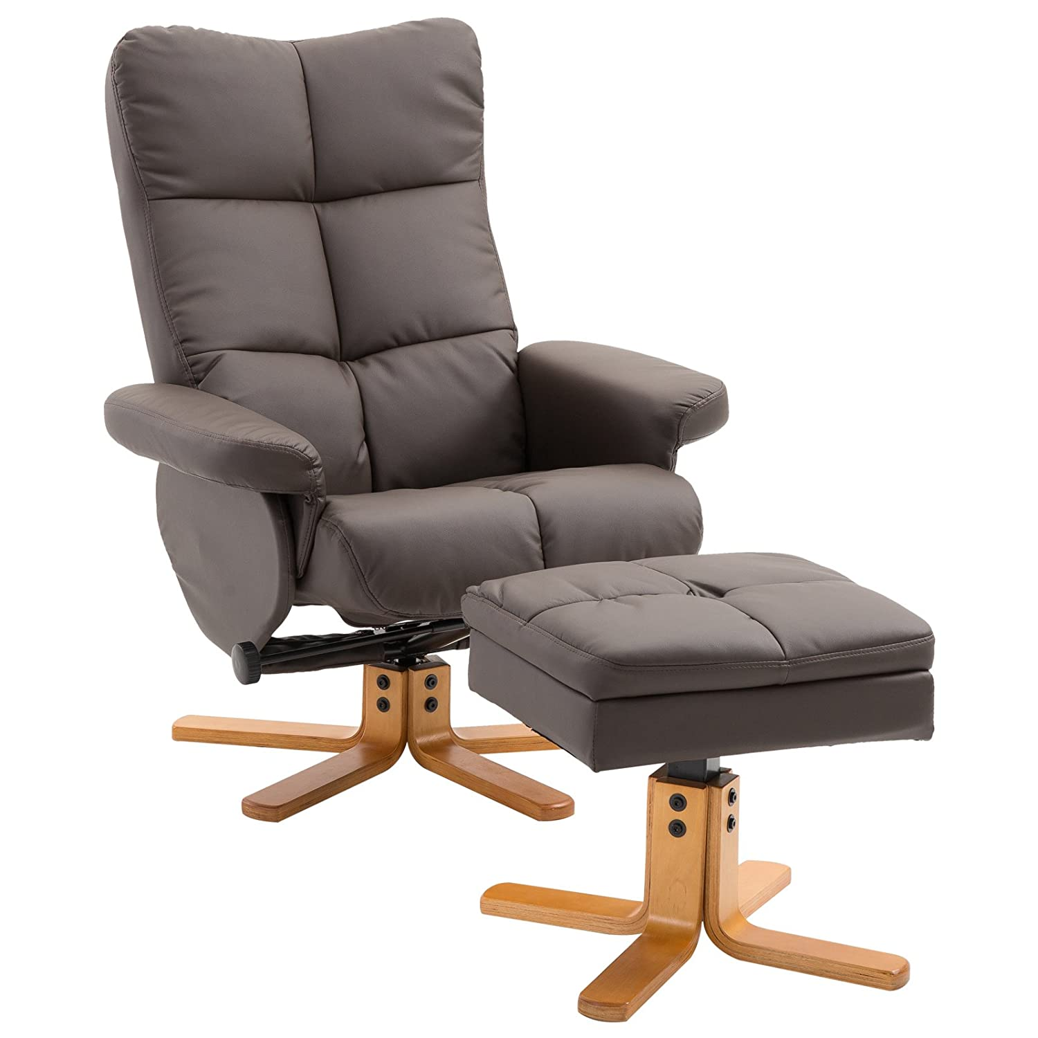 HOMCOM Leather Recliner and Ottoman Set Swivel Lounge Chair With Storage Footrest Wood Base Living Room Furniture Brown Aosom Canada CA833-3590231