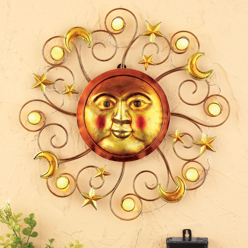 Amazon.com: Solar Powered Lighted Metallic Sun Southwestern Patio ...