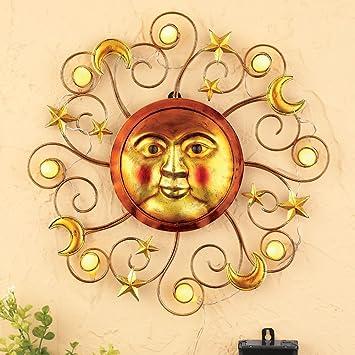 Amazon.com: Solar Powered Lighted Metallic Sun Southwestern Patio ...