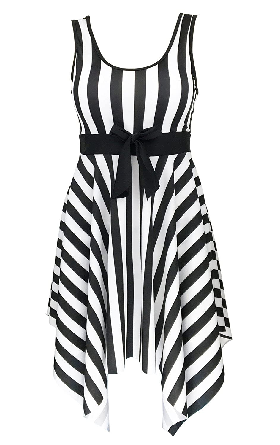 DANIFY Women's One Piece Swimsuit Sailor Striped Plus Size Swimwear Cover up Swimdress