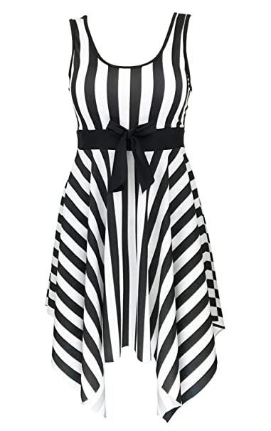 e1bfd2f8982a4 DANIFY Women s One Piece Swimsuit Sailor Striped Plus Size Swimwear Cover  up Swimdress at Amazon Women s Clothing store
