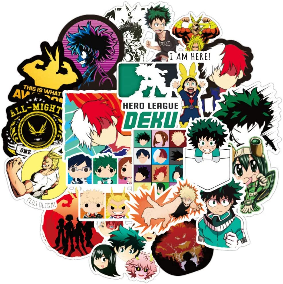 100pcs My Hero Academia Stickers Anime Cartoon Laptop Stickers Waterproof Skateboard Car Snowboard Bicycle Luggage Decal Vinyl Stickers