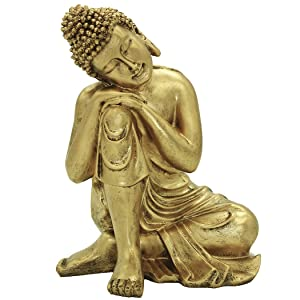 "Brass Statu 10.63""(H) Napping Indian Buddha Statue Gold Resin Home Decor Housewarming Gift Bs107"