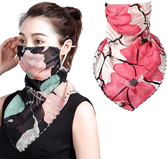 White Keleily Neck Gaiter Face Mask 2Pcs Bandana Face Mask Women Headwear Neck Scarf Breathable Sunscreen Face Mask for Dustproof Protection Summer Chiffon Wrap for Outdoor Cycling Fishing
