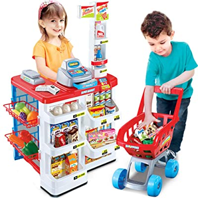 JAMOR Supermarket Sales Simulation Toy Shopping Cart Cash Register Toy Supermarket Combination Purchase Toy Experience Real Supermarket Purchase Fun (A): Office Products