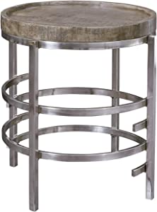 Signature Design by Ashley - Zinelli Contemporary Tray Top Round End Table, Brown/Silver