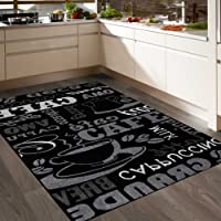VIMODA Teppich Coffee Design Modern Kaffee Muster in Schwarz ideal für die Cafe Lounge oder Küche, Sisal Optik verschiedene Schriftzüge - ÖKO TEX Zertifiziert, Maße:200x280 cm