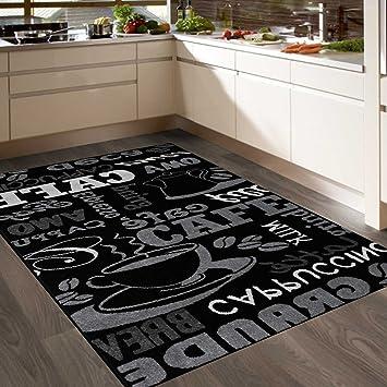 Teppich Coffee Design Modern Kaffee Muster in Schwarz ideal für die Cafe  Lounge oder Küche Sisal Optik Verschiedene Schriftzüge 160x220 cm