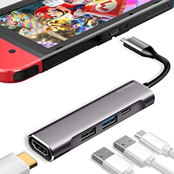 Piy Painting Nintendo Switch Dock, USB Tipo C a HDMI Multiport Hub, USB-C (USB3.1) Adaptador PD Cargador para Nintendo Switch, Portable 4K HDMI Dock para Samsung Dex Station S10/9/8/Note8/9/Tab S: Amazon.es: Electrónica