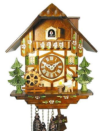 Original Schwarzwälder Kuckucksuhr/Schwarzwald-Uhr (zertifiziert),  Schwarzwald-Haus, 1-Tag-Werk, mechanisch, Musik, beweglicher Bier-Trinker,  ...