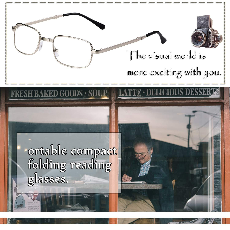 Aroncent diottria 3.00 Occhiali da lettura pieghevoli portatili uomo donna Anti affaticamento ultraleggero argento