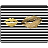 Wknoon Gaming Mouse Pad Custom, Creative Faux Gold Paint Lips Kiss On Black and White Stripes, Personalized Design Non-Slip Rubber Mousepad