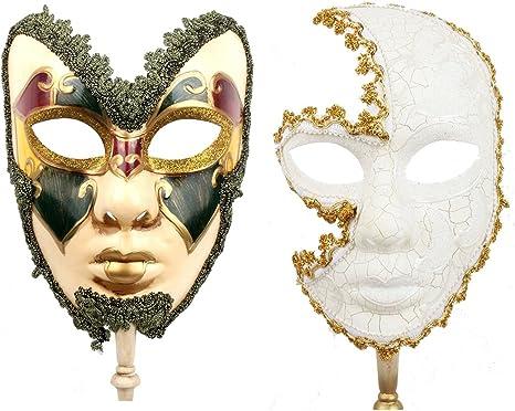 MASQUERADE LACE DIAMOND MASK ON STICK womens ladies fancy dress accessory