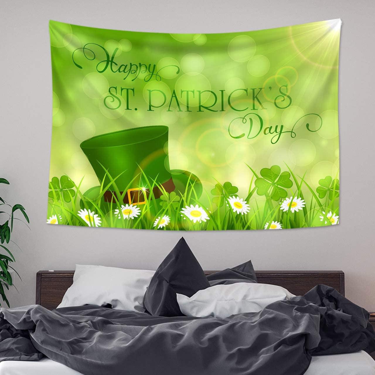 LB Happy St.Patrick s Day Tapestry Green Hats with Four Leaf Clover Daisy Tapestry for Spring Irish Festival Party Tapestry Wall Art Bedroom Living Room Dorm Decor 93 Wx71 L