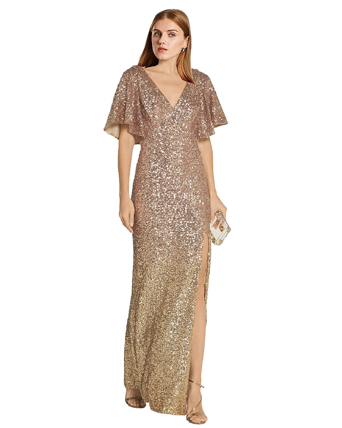 Lily Wedding Womens V-Neck Sequin Prom Dresses 2019 Long Slit Mermaid  Evening Formal Gown GD16 Champagne Plus Size 20