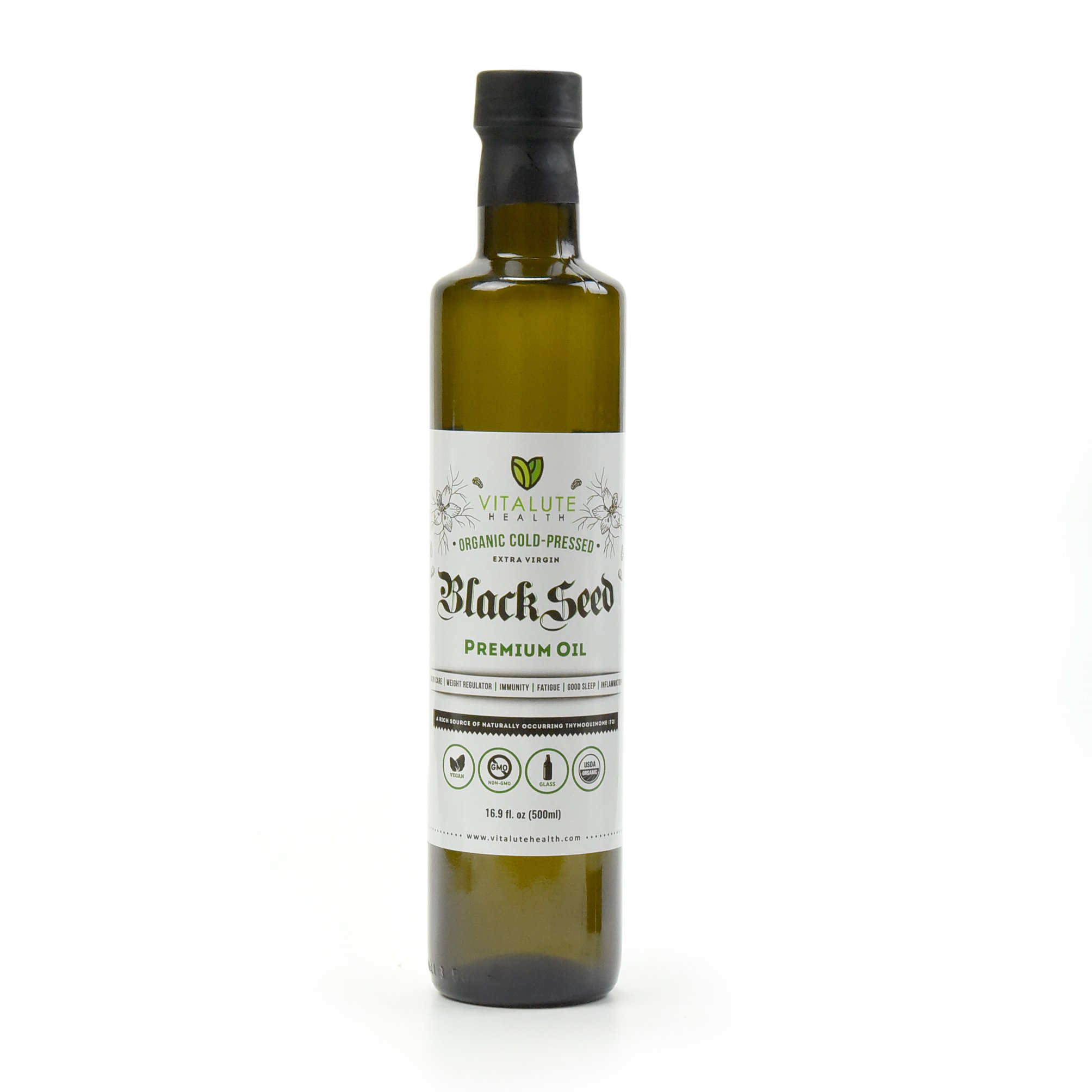Vitalute Health Black Seed Oil - 16.9 fl.oz (500ml) - Organic, Cold Pressed, Extra Virgin, Premium Oil, Glass Bottle