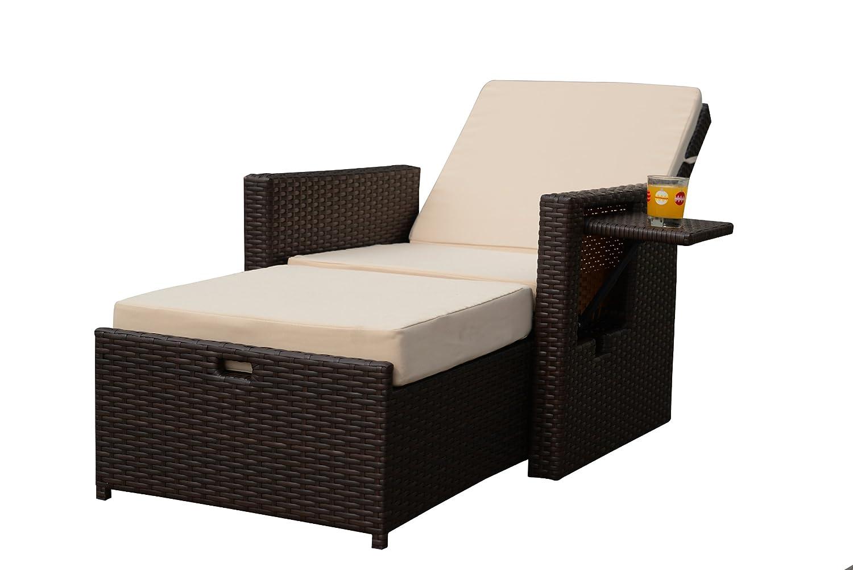 Gartenfreude Liege Sessel Polyrattan Mit Verstellbarer Rückenlehne,  Aluminiumgestell, Bicolour Braun, 125x73x92cm Bestellen