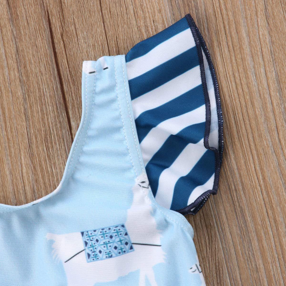 MIKI SHOP Child Kid Baby Girls Striped Ruched Bikini Swimwear Swimsuit Bathing Suit Summer 6M-5T