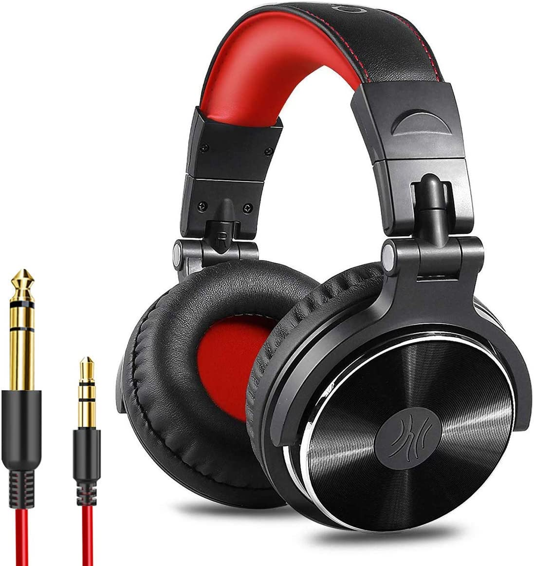 OneOdio Over Ear Headphone, Wired Bass Headsets with 50mm Driver, Foldable Lightweight Headphones with Shareport and Mic for Recording Monitoring Podcast Guitar PC TV – Red