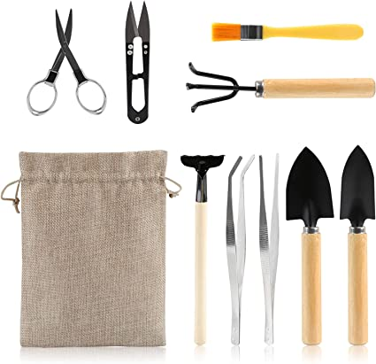 Amazon Com Lihao 9 Piece Basic Bonsai Tools Set Includes Pruning Shears Mini Rake Fold Scissors And More Garden Outdoor