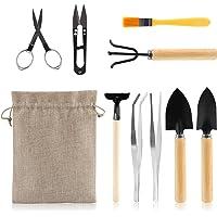 LIHAO 9 Piece Basic Bonsai Tools Set, Includes Pruning Shears, Mini Rake, Fold Scissors and More