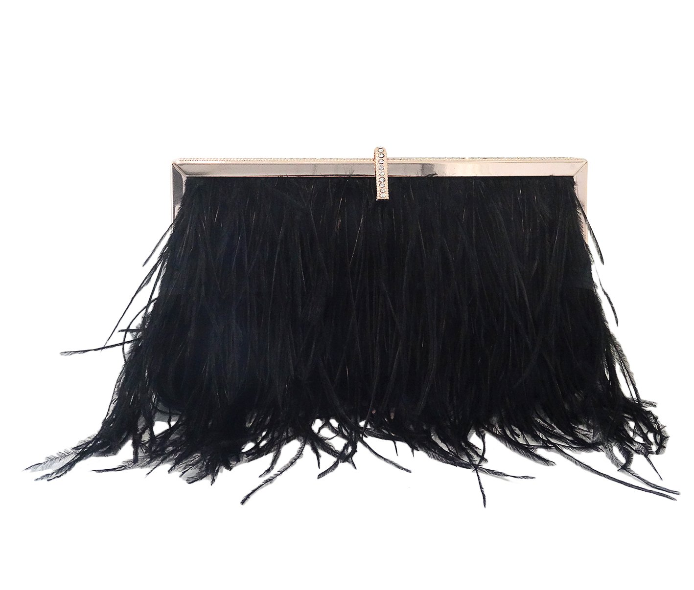 Zakia Real Natural Ostrich Feather Evening Clutch Shoulder Bag Party Bag (Black-B) by Zakia (Image #1)