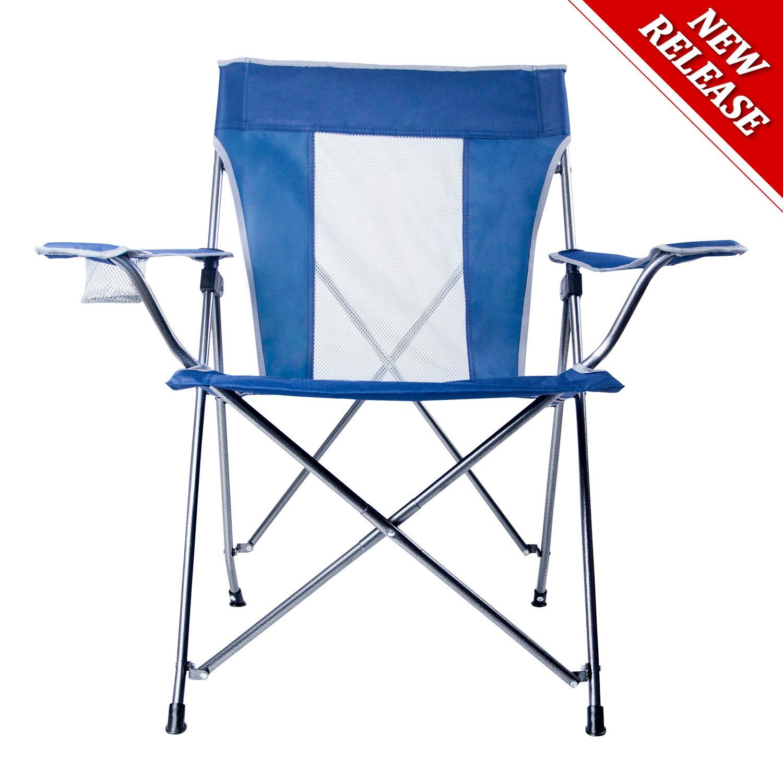 LCH折りたたみ椅子キャンプアウトドアQuad椅子デラックスハイバックwith Cup Houlder、アームレストオーバーサイズハイバックサポート300lbsポータブルwith Carryバッグ B078K4VD9V  ブルー