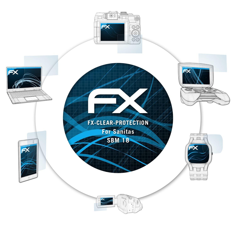 atFoliX Protezione Pellicola dello Schermo per Sanitas SBM 18 Pellicola Protettiva - 2 x FX-Clear ultra trasparente Pellicola Proteggi FX-Clear@FoliX 4050512174153