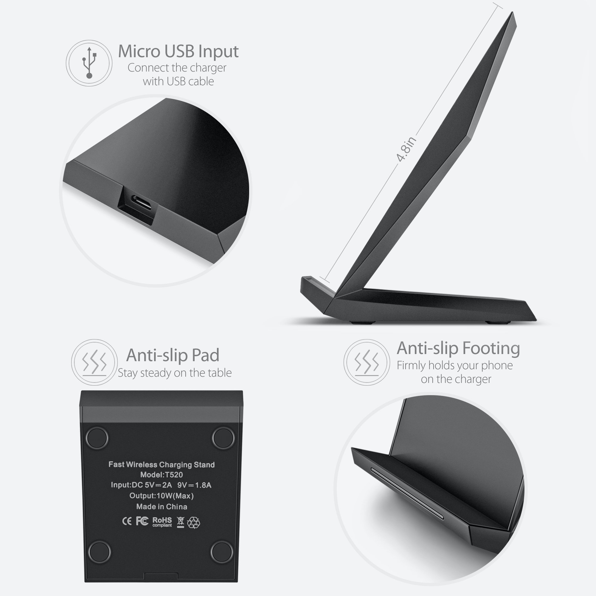 fast wireless charger choetech qi wireless charging stand. Black Bedroom Furniture Sets. Home Design Ideas
