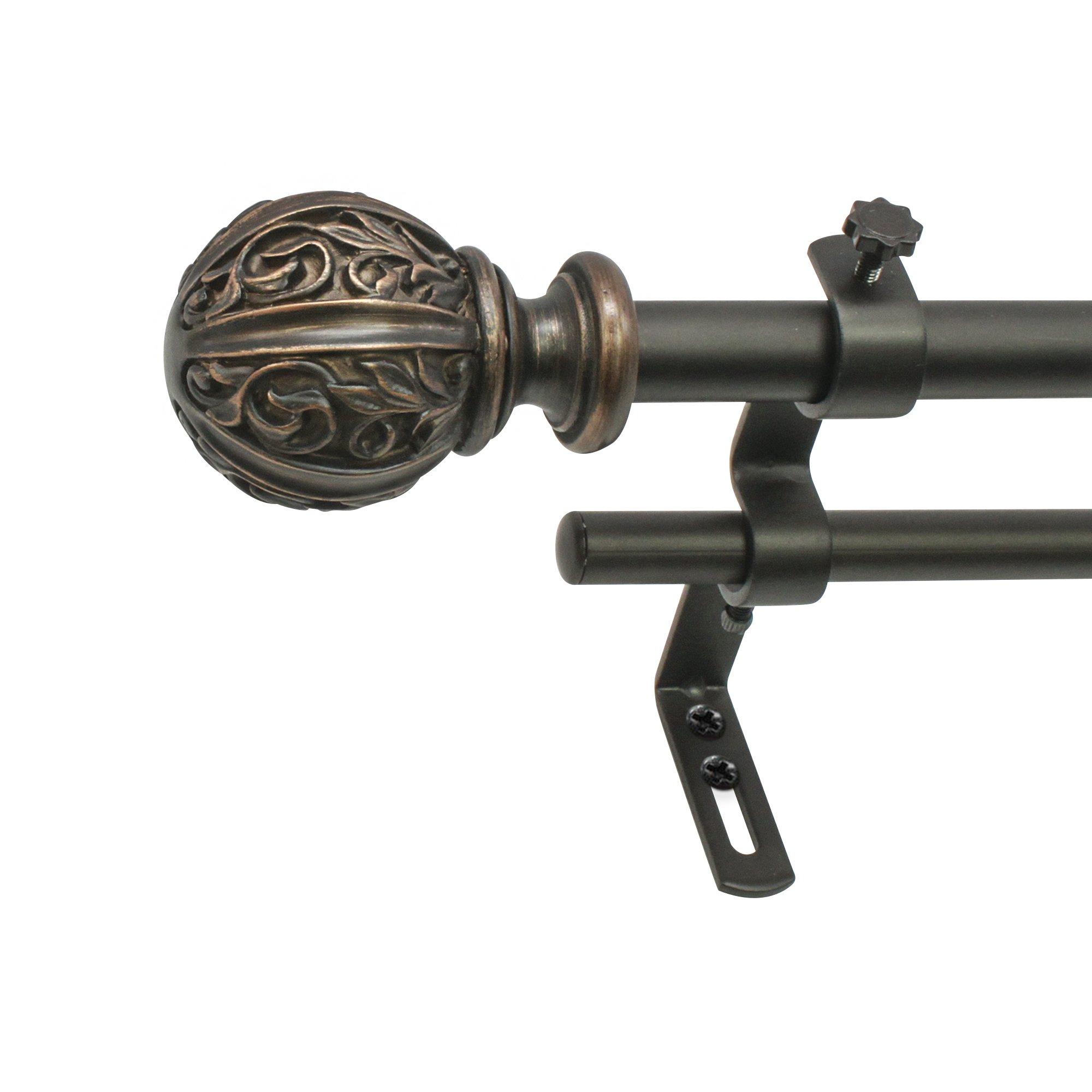Montevilla Leaf Ball Double Telescoping Drapery Rod, 48-86'', Vintage Bronze by Montevilla