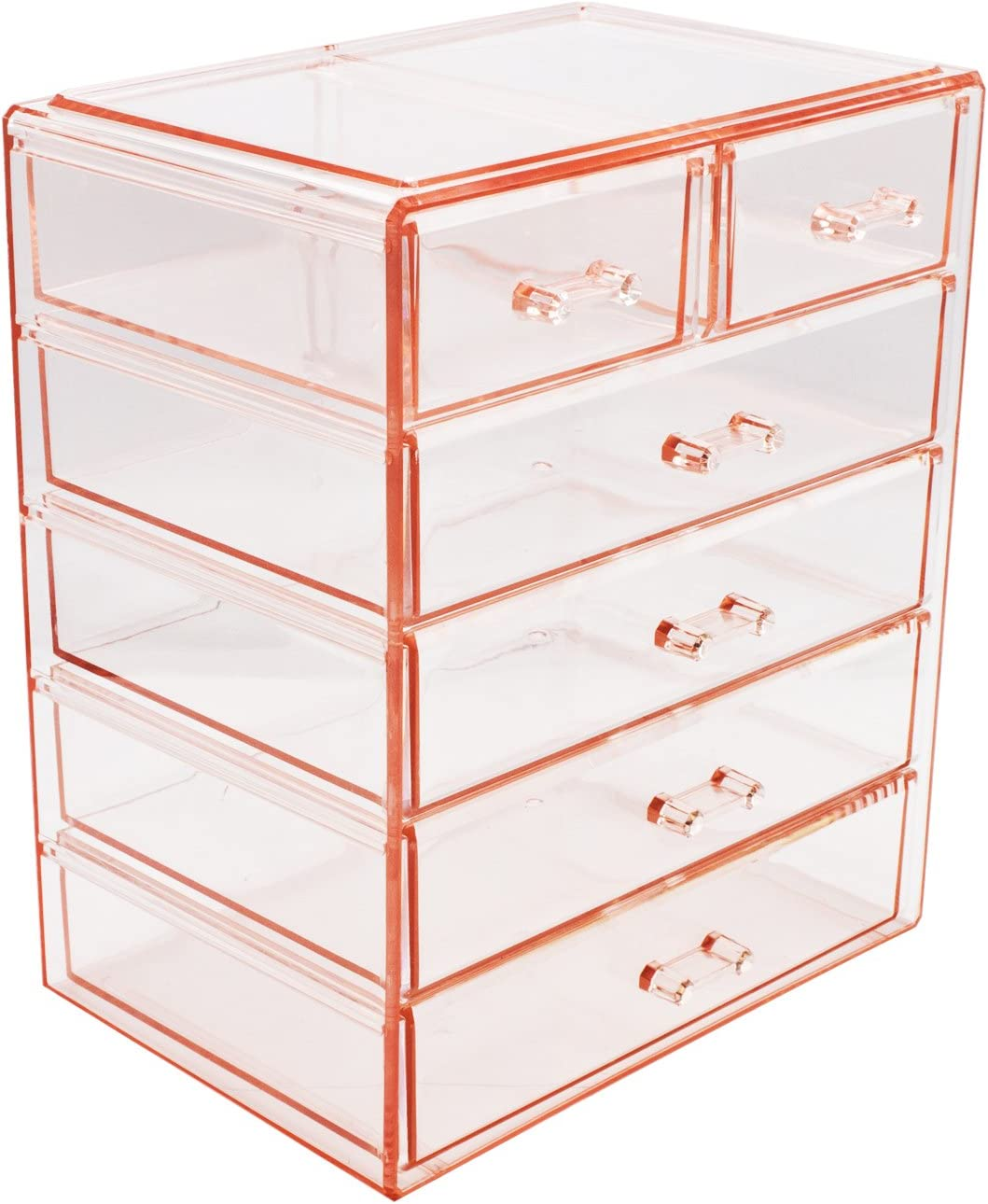 (4 Large, 2 Small Drawers, Pink) - Sorbus Cosmetics Makeup and Jewellery Big Pink Storage Case Display- 4 Large and 2 Small Drawers Space- Saving, Stylish Acrylic Bathroom Case