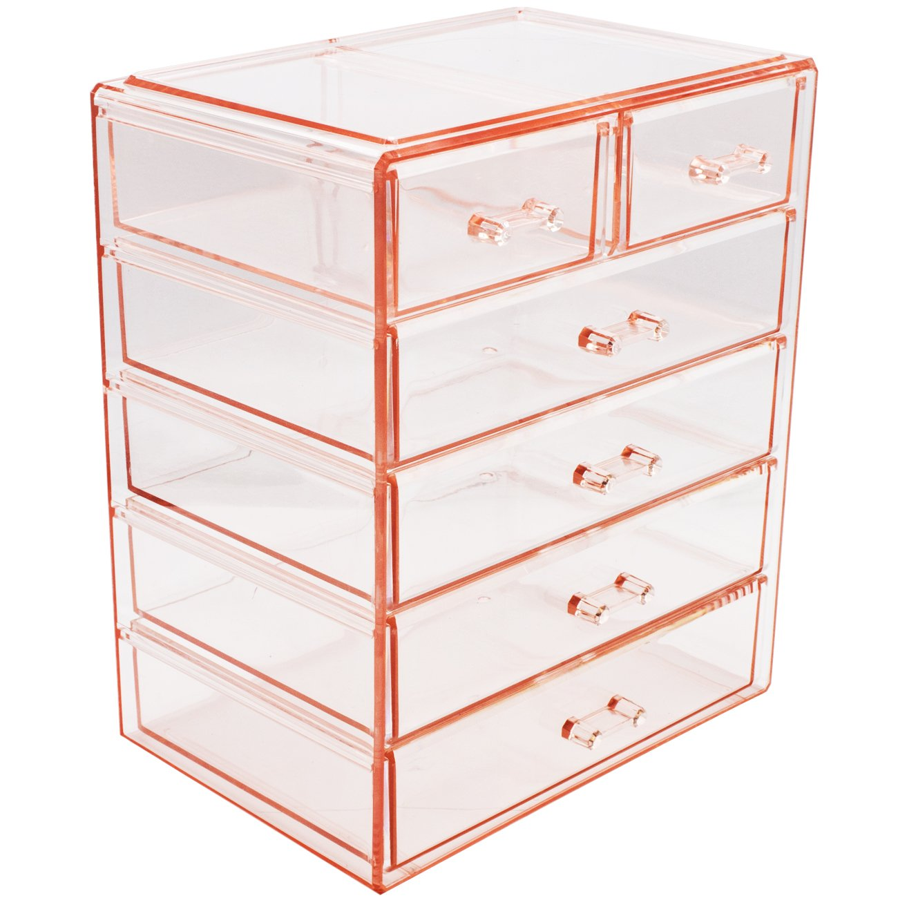Sorbus Cosmetics Makeup and Jewelry Big Pink Storage Case Display- 4 Large and 2 Small Drawers Space- Saving, Stylish Acrylic Bathroom Case