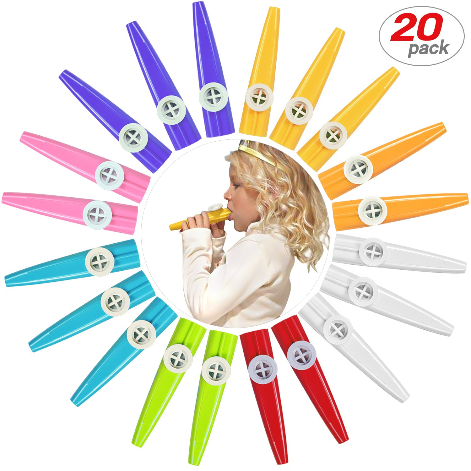 48 Pack Plastic Kazoos Musical Instruments With 48pcs Kazoo Flute Diaphragms Assorted Color Party Favors Gifts Kazoo Kid Random 8 Colors New Teko