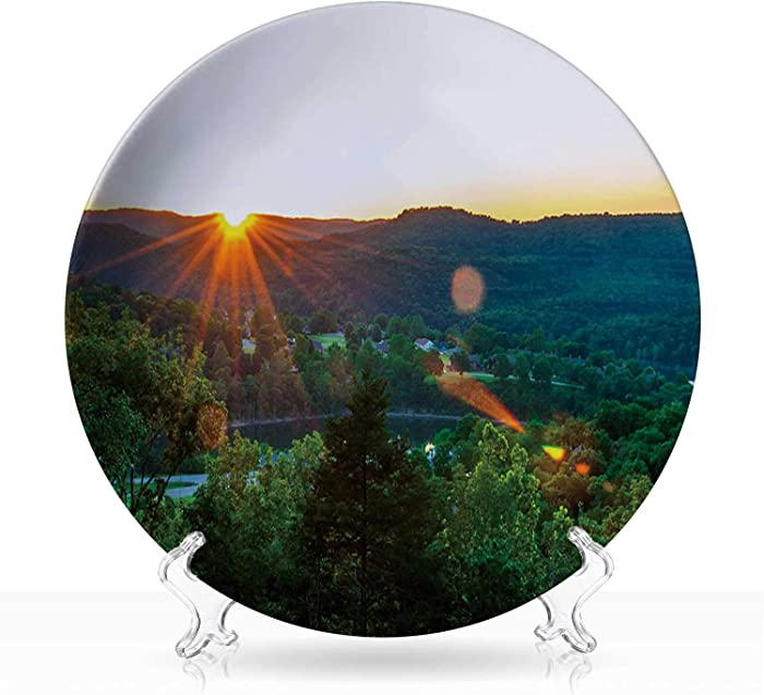 """Eureka Springs Sunset,Indie Ceramic Decorative Plate Hipster,8 inch 6""""Inch"""