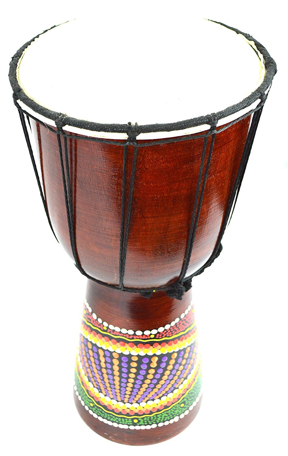 CLEARANCE 12'' DOTTED DJEMBE DRUM BONGO HAND CARVED AFRICAN ABORIGINAL ART DESIGN