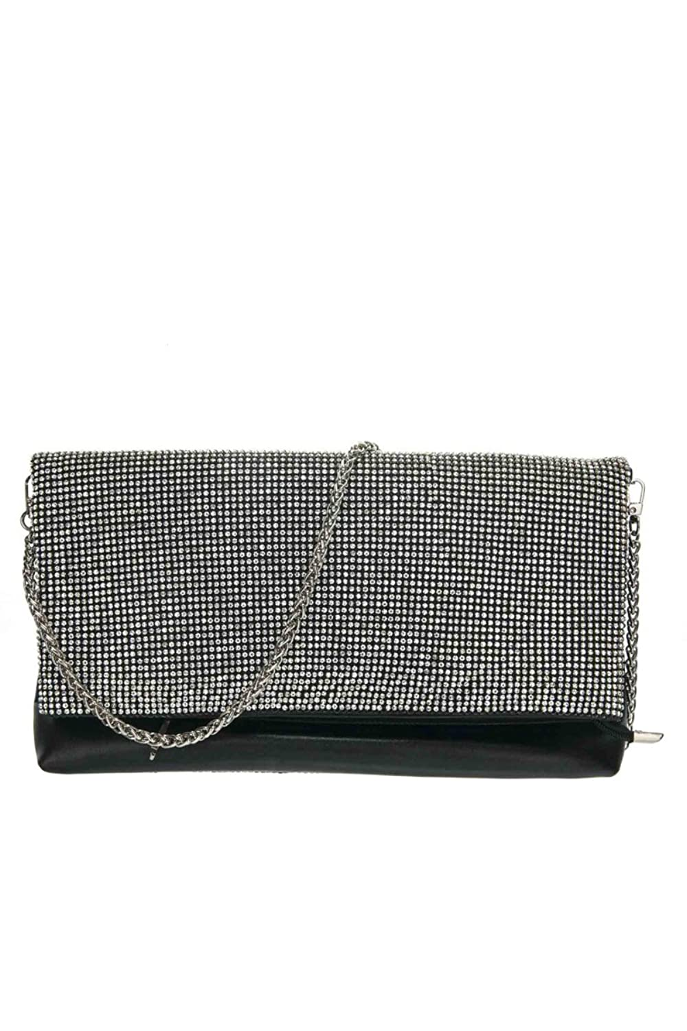 lcolette Boutique Style Front All Over Rhinestone And Metal Accented Clutch hd2134