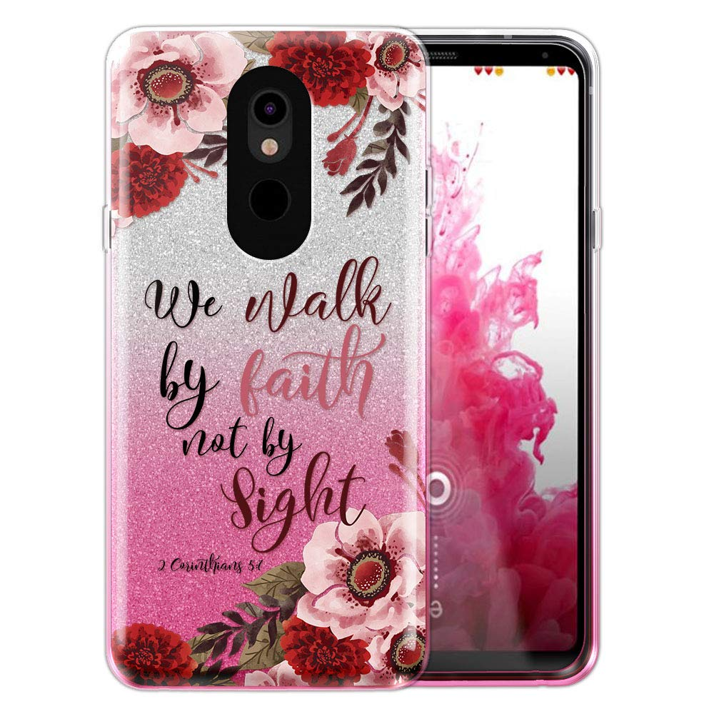 FINCIBO Case Compatible with LG Stylo 5, Shiny Sparkling Silver Pink Gradient 2 Tone Glitter TPU Protector Cover Case for LG Stylo 5 - Christian 2 Corinthians 5:7